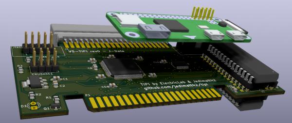 TIPI/32K combo sidecar board with PI Zero installed